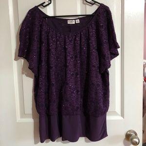 Cato Purple sparkle lace blouse 18/20 Christmas